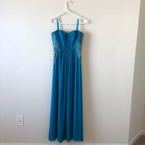 BCBGMaxAzria Floor Length Teal Gown